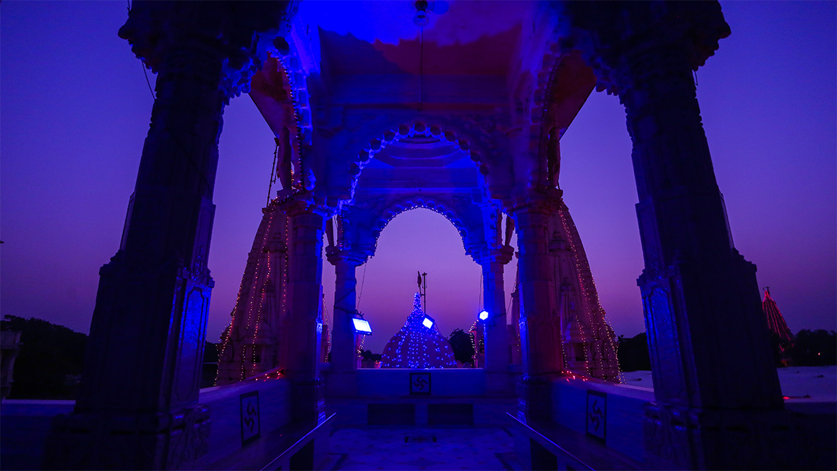 BAPS Shri Swaminarayan Mandir, Sarangpur, lit up for Diwali celebrations
