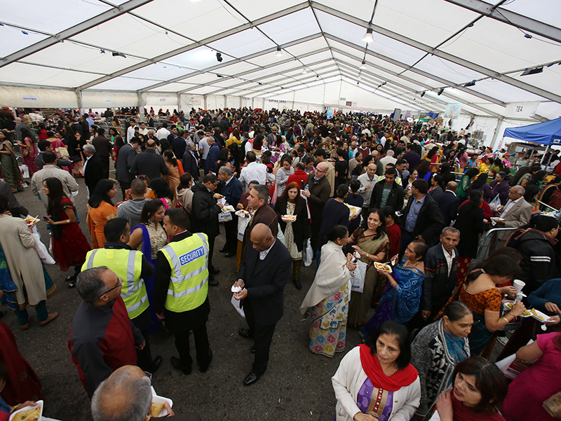 Visitors in the food and gift marquee