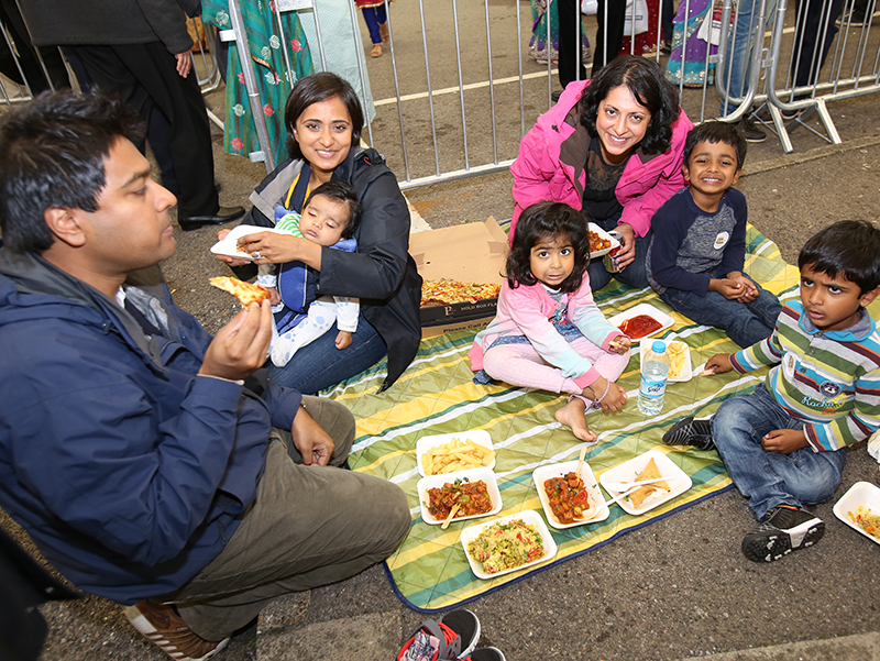 Families enjoyed the Indian and Western fare