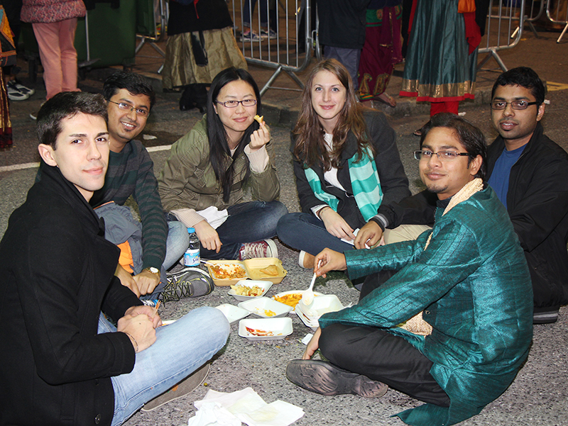 Friends enjoyed the Indian and Western fare