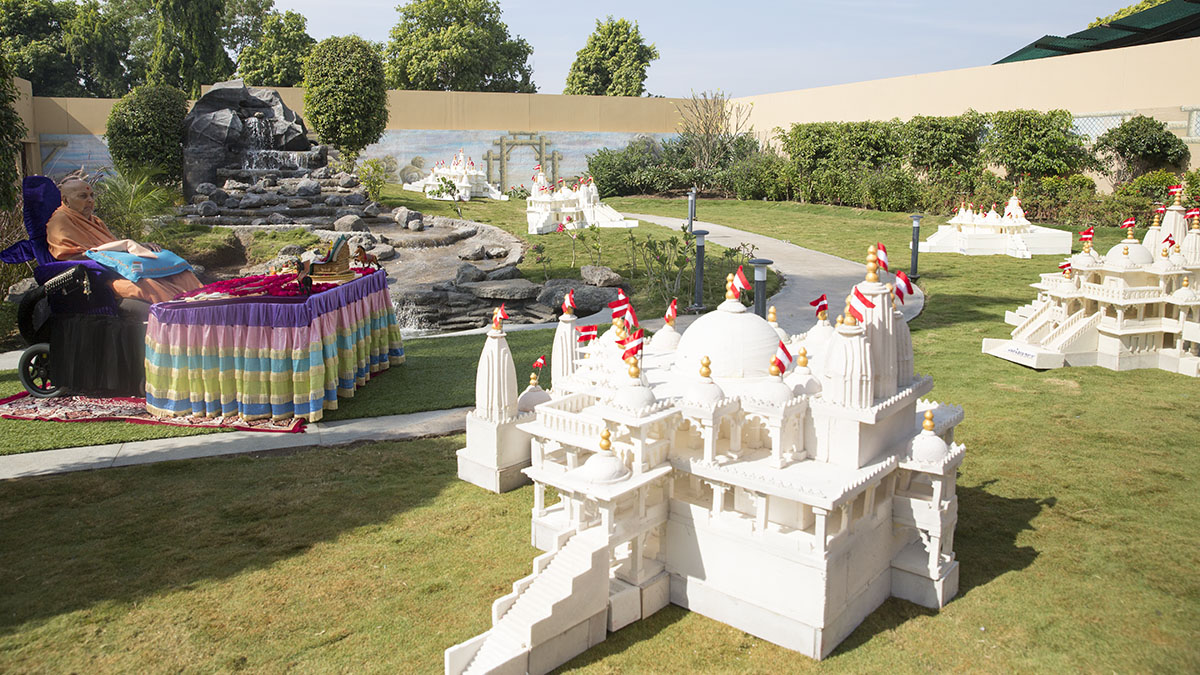 Models of mandirs created by Shastriji Maharaj placed in Swamishri's morning puja