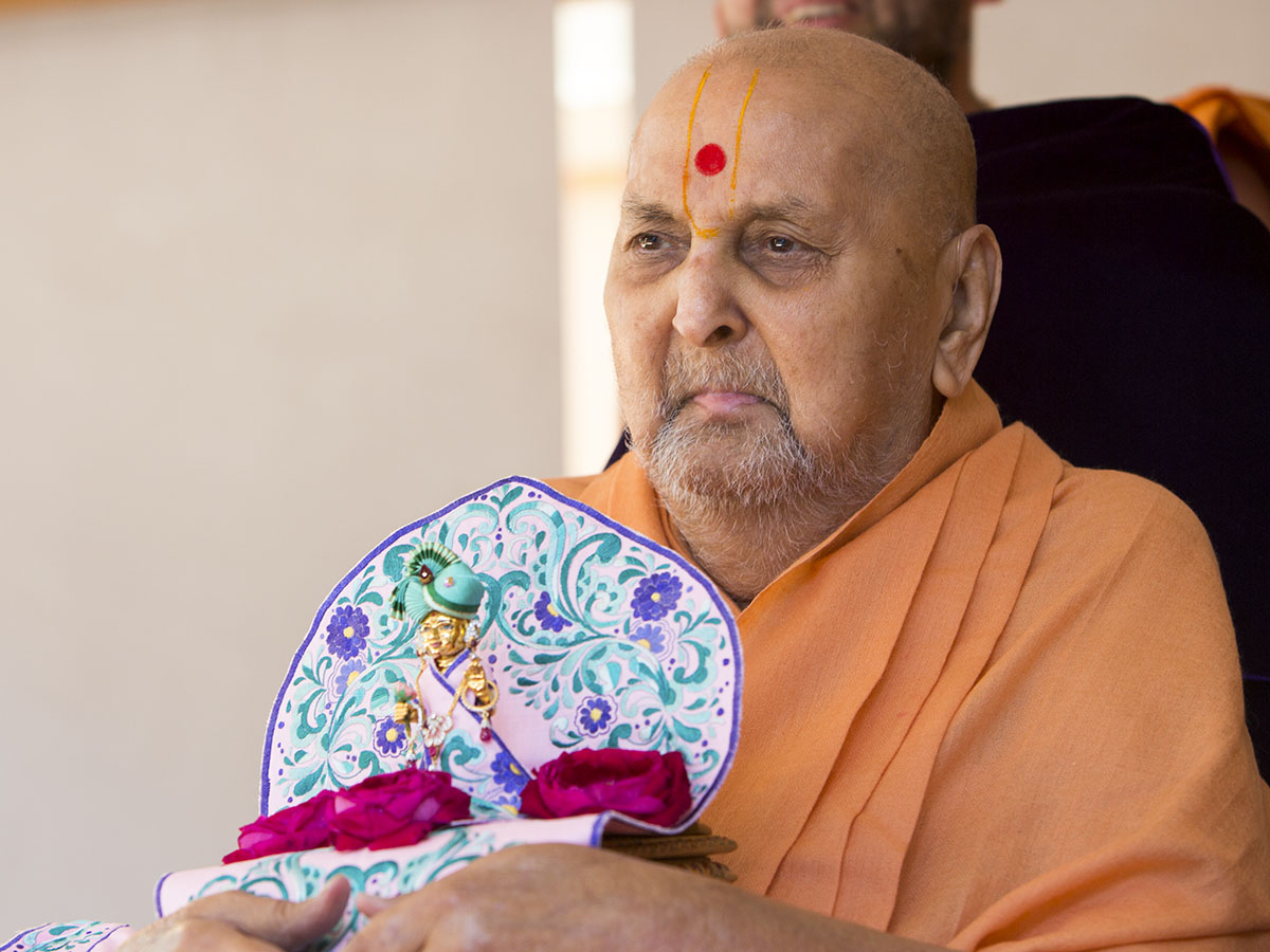 Swamishri arrives in the mandir grounds in the afternoon with Shri Harikrishna Maharaj