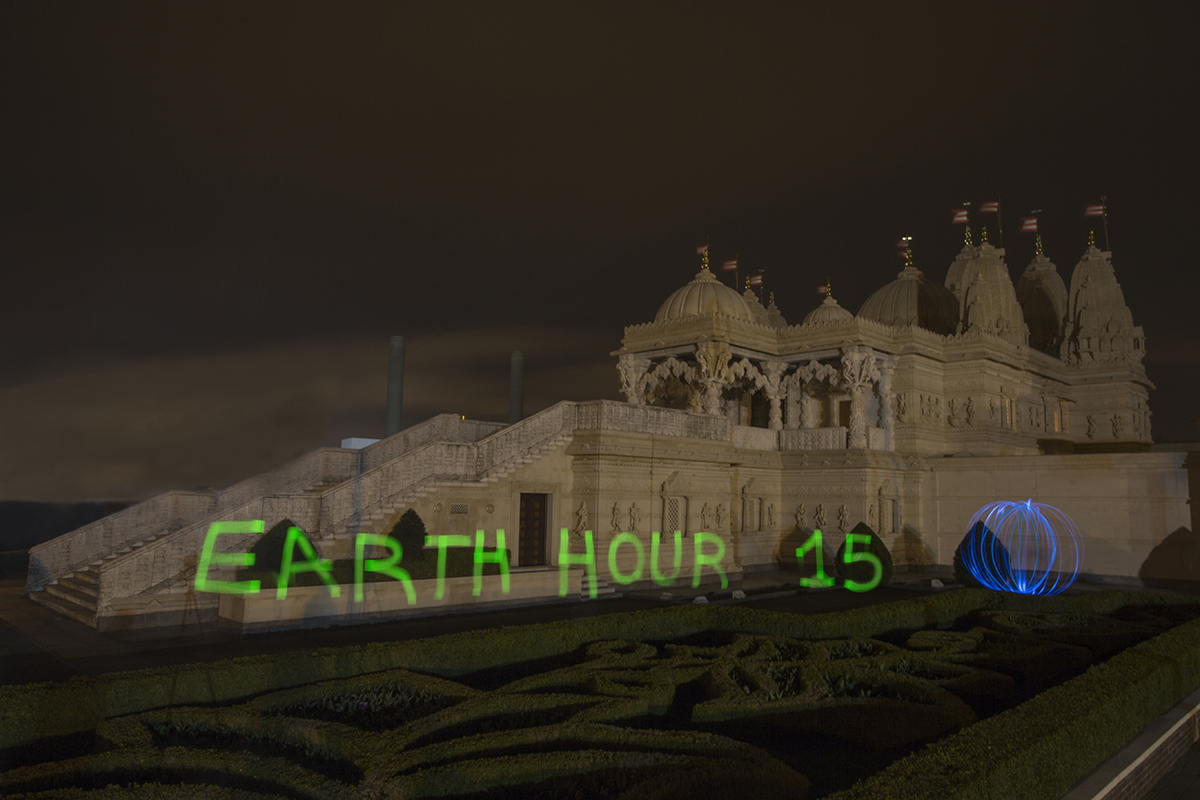 BAPS Shri Swaminarayan Mandir, London during Earth Hour